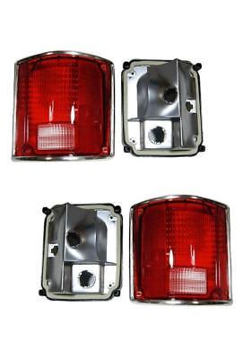 Tail Lights Pair Fits Chevy GMC Truck 73-87 Suburban Blazer Lens Housing Chrome ()