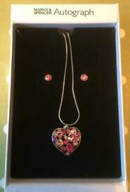 Marks & Spencer Pink Heart Necklace & Earrings Boxed Set BNIB - collect from Gosport
