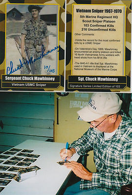 Chuck Mawhinney Vietnam Sniper USMC 103 kills, 216 unconfirmed kills SIGNED CARD