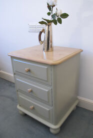 A beautifully upcycled chests of solid pine with 3 drawers painted in Farrow&Ball state eggshell