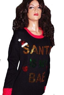 Womens SANTA IS MY BAE Boyfriend BEST Friend Ugly Christmas Sweater Party L  NEW](Best Christmas Sweaters)