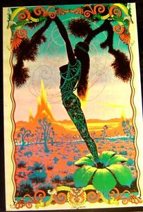 Vintage 1970s~DESERT BLOSSOM~Glorious Girl Blacklight Poster