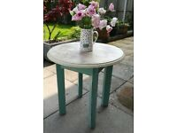 Small side table shabby chic heavily distressed cream blue