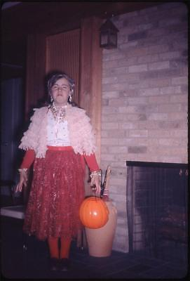 Nancy in Her Halloween Costume Crying Face Vintage 1964 Slide Photo (1964 Halloween Costumes)