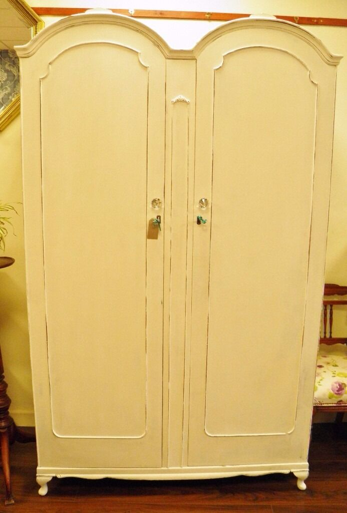 SPECIAL SALE PRICE - Stunning Fully Refurbished Double Wardrobe in Antique White - WE CAN DELIVER