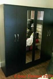 6 door wardrobe fitment in Black