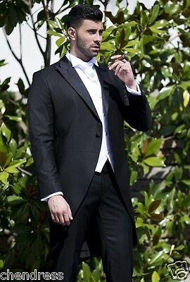 TOP Hochzeitsanzug Herrenanzug Gehrock Cut 1-2 teilig in schwarz  NEU H3110