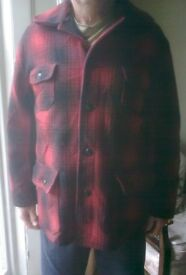 American Red Black Plaid Check HEAVY TWEED Wool Hunting jacket