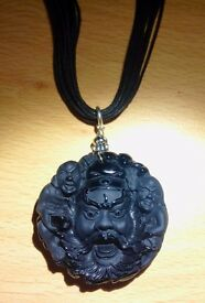 "Designer Black Onyx Buddha hanging on 18"" leather necklace with 925 Silver clasp"
