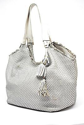 """HENRY BEGUELIN """"Hand Made"""" Silver Woven Leather White Strap Tote BAG 12"""" x 17"""""""