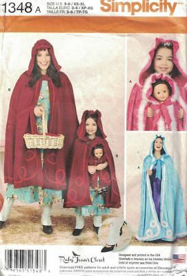 Matching Costumes For Kids (Simplicity 1348 Matching Caps & Capes for Misses, Child & 18