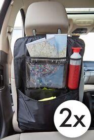 TECAROO Set of 2 Black Car Seat Organisers with multi-pocket travel storage system (RRP £15)