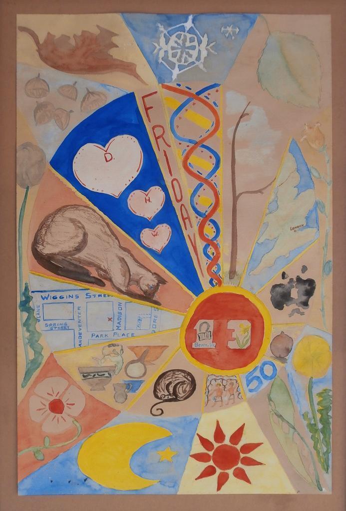Modernist Abstract Painting New York Stettheimer School Symbolist Artist No Res  - $69.49