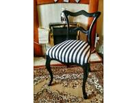 Vintage upcyled queen Anne balloon back chair - Black