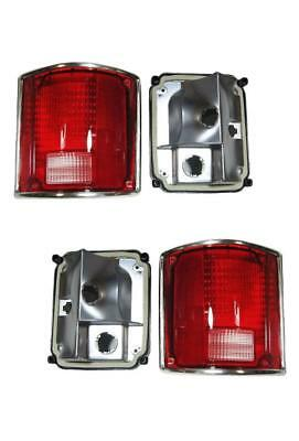 1973-1991 Chevy GMC Truck For Tail Lights Lens And Housing Pair Chrome Trim Nice ()