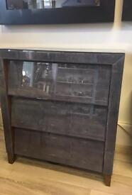Contemporary Grey glass chest of drawers