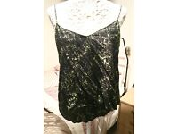 Warehouse Strappy Layered Top Size 12 with Criss Cross Back in Black & Green