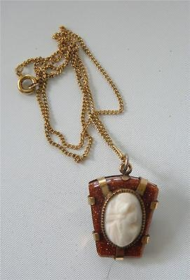 Vintage Carved Shell Cameo Brooch Pin Pendant Necklace Gold Filled on Goldstone