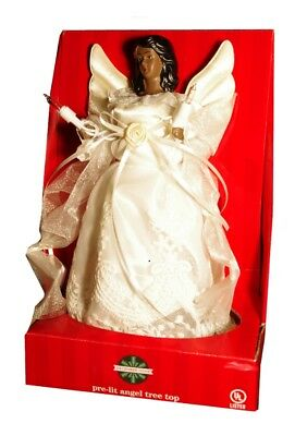 Christmas ANGEL Tree Topper Black African American OFF WHITE 10 Clear Lights NEW ()