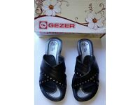 Gezer Ladies Womens Shannon Diamonte Sandal Heeled Mules Shoes Size 4 EU 37