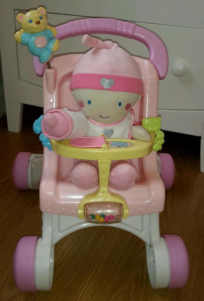 Fisher Price baby stroller walker pram with new soft doll ...