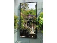 Large sliding Mirrored wardrobe doors - brass framed large smoked glass mirror