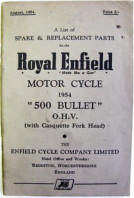 ROYAL ENFIELD 500 BULLET- Original Motorcycle Parts List - 1954 - 372 2 1/2M 854