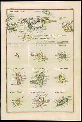 1780 Antique Map LES ISLE VERGES West Indies Virgin Islands Antigua by Bonne (10