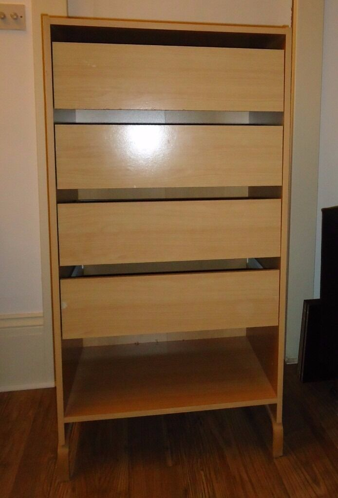 Dresser with drawers (x4in West Hampstead, LondonGumtree - Dresser in good condition. Dimension height 117.5cm, width 60cm, depth 42.5cm. 4 drawers and one alcove. Currently heighted by 11cm with removable legs