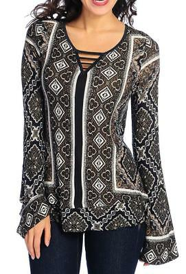 NEW - One World Printed Knit Long Bell Sleeve Ladder Notch Neck Tiered Top - (Bell Ladder)