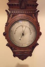 """Impressive Edwardian Oak Case Barometer Thermometer Dial Arabic Number 40""""L"""