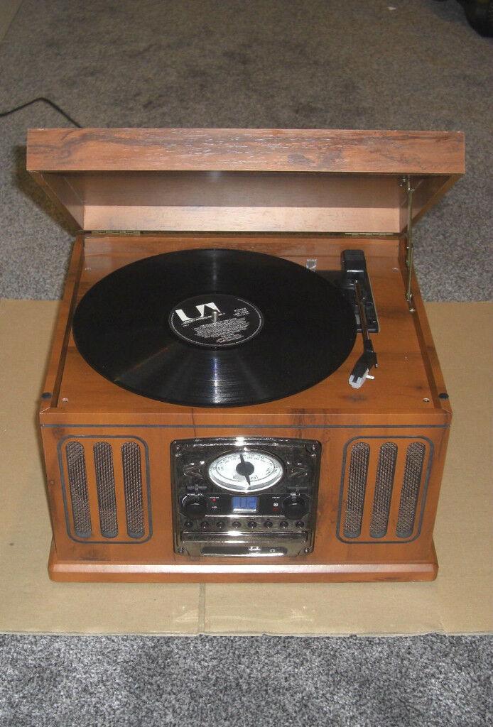 Neostar Retro Music Centre Turntable Digital Record Player with USB CD MP3 Radio