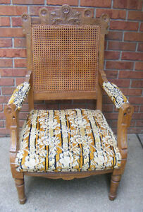 Antique-Victorian-Eastlake-Chair-Cane-Upholstered
