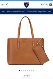 BRAND NEW UNOPENED ASPINAL REGENT TOTE SMOOTH TAN LEATHER HANDBAG CLUTCH WOMENS