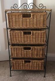 4 Drawer Basket Storage chest on an Iron stand