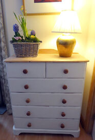 """Chic"" and not too shabby solid pine chest of drawers"