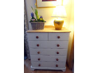 Cute solid chic not shabby solid pine chest of drawers