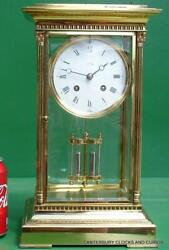 L'EPEE VINTAGE FRENCH 8 DAY FOUR GLASS CRYSTAL REGULATOR MANTLE TABLE CLOCK 10kg
