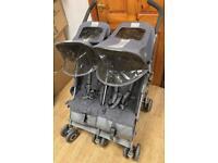MACLAREN TWIN TECHNO BLACK UMBRELLA CHILDS KIDS DOUBLE SEAT STROLLER PUSHCHAIR BUGGY EN1888 - 2003