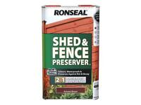 Ronseal Shed and Fence Preserver 5L - New & Unopened. Autumn Brown