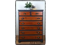 Rustic Solid Pine Chest of drawers hand painted in Ash Fusion Mineral Paint