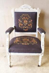 Antique Solid Wood Distressed Eastlake Armchair With Petit Point Upholstery