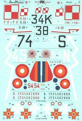 1:48 Early Warriors PZL P.11 AeroMaster Scale Model Decals Sheet NOS 621