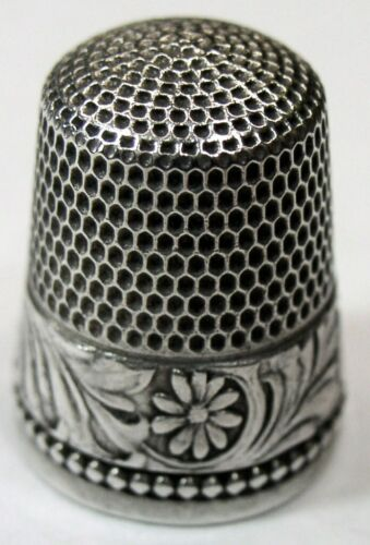 "Antique Simons Bros. Co. Sterling Silver Thimble  ""Chased Rosettes""  C1890s"