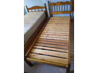 Two pine single beds plus mattress