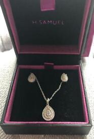 H Samuel Diamond Tear Shape Earrings and Necklace Set