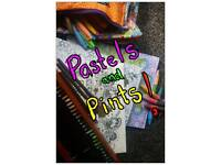 Adult colouring group, pastels and pints