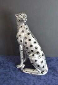 Silver Leopard Ornament Figure Art Deco