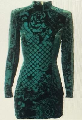 BALMAIN X H&M Green Silk Blend Velvet Dress Size 4