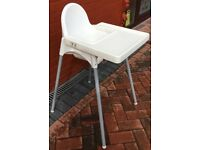 Ikea Highchair Antilop with Tray, AND REMOVABLE STEEL LEGS